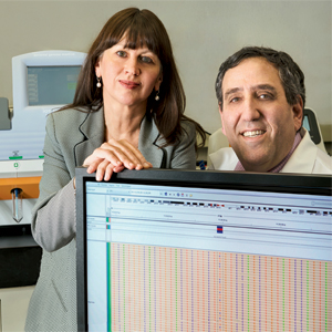 <strong>For molecular colorectal cancer testing</strong>, next-gen sequencing is the future. At the University of Pittsburgh, where the future arrived last November, the lab runs an NGS panel of 46 genes and more than 740 mutations, says Dr. Marina Nikiforova, here with GI oncologist Nathan Bahary, MD, PhD.