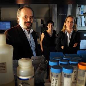 The FDA, in its approach to companion diagnostics, seems to favor single-assay platforms while the field moves toward multiplexed platforms, says Dr. Marc Ladanyi, here at Memorial Sloan-Kettering Cancer Center with colleagues involved in BRAF mutation testing, Maria Arcila, MD (center), and Laetitia Borsu, PhD.
