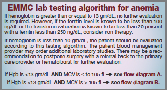 EMMC lab testing algorithm for anemia