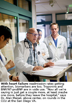 With heart failure readmission rates getting attention, biomarkers are too. Troponins and BNP/NT-proBNP are in wide use.