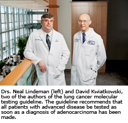 Drs. Neal Lindeman (left) and David Kwiatkowski, two of the authors of the lung cancer molecular testing guideline. The guideline recommends that all patients with advanced disease be tested as soon as a diagnosis of adenocarcinoma has been made