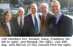 CAP members Drs. Amaker, Gang, Friedberg, and Misialek, visit with Rep. John Barrow (D-GA).