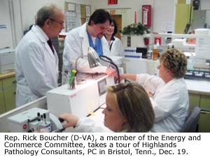 Rep. Rick Boucher (D-VA), a member of the Energy and Commerce Committee, takes a tour of Highlands Pathology Consultants, PC in Bristol, Tenn., Dec. 19.