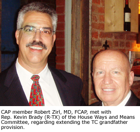 CAP member Robert Zirl, MD, FCAP, met with Rep. Kevin Brady (R-TX) of the House Ways and Means Committee, regarding extending the TC grandfather provision.