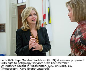 U.S. Rep. Marsha Blackburn (R-TN) discusses proposed CMS cuts to pathology services with CAP member Dr. Kathryn Knight in Washington, D.C. on Sept. 18.