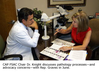 CAP FSAC Chair Dr. Knight discusses pathology processes—and advocacy concerns—with Rep. Graves in June.