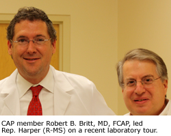 CAP member Robert B. Britt, MD, FCAP, led Rep. Harper (R-MS) on a recent laboratory tour.