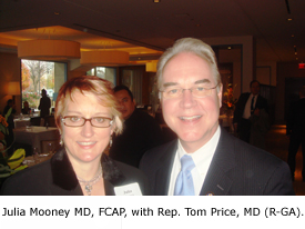 Julia Mooney MD, FCAP with Rep. Tom Price, MD (R-GA).