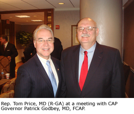 Rep. Tom Price, MD (R-GA) at a meeting with CAP Governor Patrick Godbey, MD, FCAP.