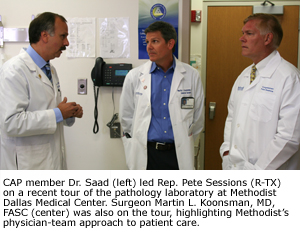 CAP member Dr. Saad (left) led Rep. Pete Sessions (R-TX) on a recent tour of the pathology laboratory at Methodist Dallas Medical Center. Surgeon Martin L. Koonsman, MD, FASC (center) was also on the tour, highlighting Methodist's physician-team approach to patient care.